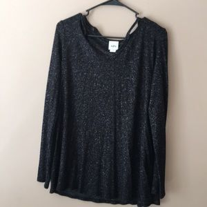Daytrip reverse fleece cold shoulder sweater.